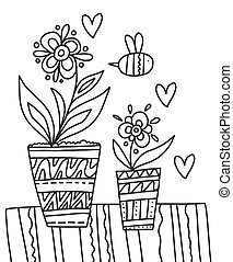 Two pots with flower coloring book for adults vector illustration. Anti-stress coloring for adult in Zentangle style. Black and white lines and Lace pattern. Spring flowers on a windowsill with bees