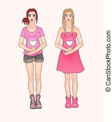 Two pregnant woman. Fashion