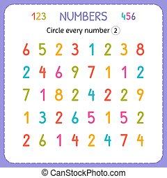 two., preschool., formation, worksheet, nombre, numbers., écrire, chaque, nombres, jardin enfants, exercices, cercle, enfants, kids., compte