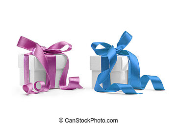 two present boxes with ribbon isolated on white background