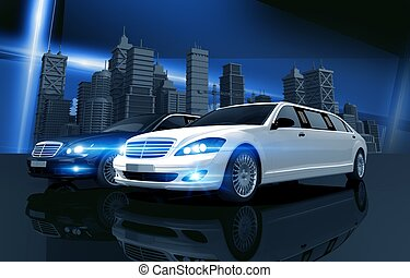Two Prestigious Limos and City Skyline Concept Illustration....