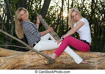 Two pretty blonde sitting on a tree branch