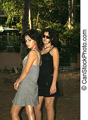 Two pretty brunette girls