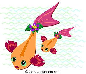 Two Pretty Koi Swimming