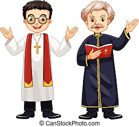 Two priests with happy face