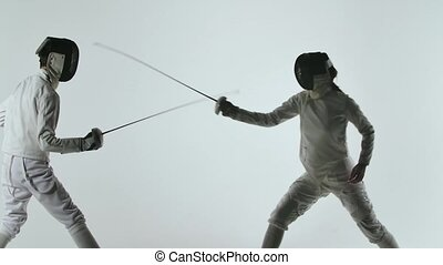 Two professional fencers show masterful swordsmanship in ...