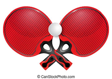 Two professional racket for table tennis on a white...