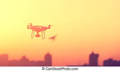 Two Professional Remote Control Air Drones with action...