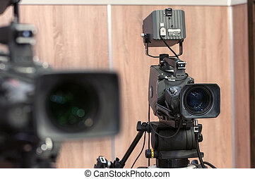 Two professional TV video camera