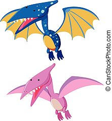 Two pterosaurs in blue and pink illustration