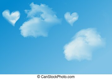 Two puffs - Two hearts in clouds with blue sky.