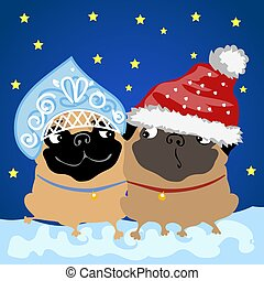 Two pug dogs in Christmas costumes Santa Claus and snow maiden. Sample of the poster, party invitation and other cards. Vector illustration.
