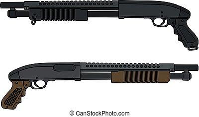 Two pump shotguns