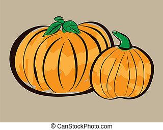 Two pumpkins illustration