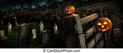 Two pumpkins sitting on fence