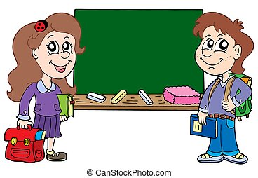 Two pupils with blackboard - isolated illustration.