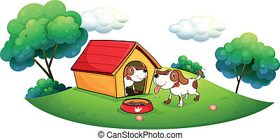 Two puppies with a doghouse - Illustration of the two...