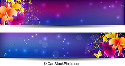 Two purple banners with lily flowers