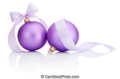 Two purple christmas balls with ribbon bow Isolated on white background