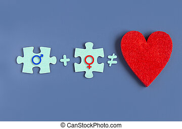 Two puzzle pieces and a heart idea of love on a blue background with signs of a man and a woman. Copyspace for love idea text