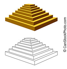 Two isolated pyramids with steps on a white background. One pyramid of the brown color, the second pyramid is executed by a contour.