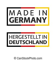 Two quality marks Made in Germany, colored vector symbol with German tricolor isolated on white background