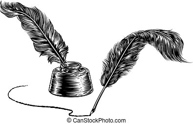 Two Quill Feather Pens and Inkwell