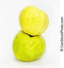 Two quince on white background