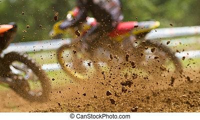 two racers in motocross