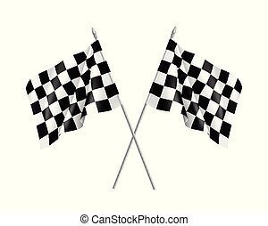 Two racing flags crossed realistic
