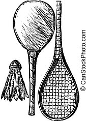 Two Rackets and shuttlecock, vintage engraving. Old engraved illustration of Two Rackets and shuttlecock isolated on a white background.
