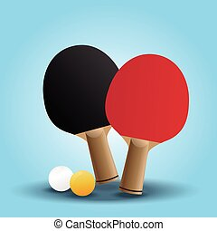 Two rackets design for playing table tennis on Light Blue background.