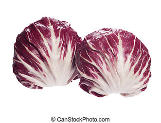 Two Radicchio salads in full size on white background. High...