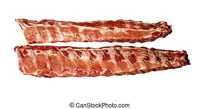 two raw pork spare ribs - Two raw pork spare ribs.
