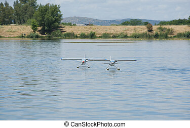 Two RC Hydroplane on water