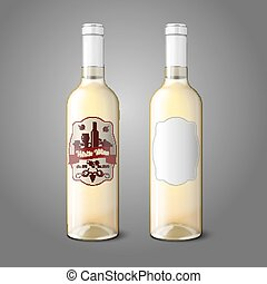 Two realistic bottles for white wine with labels isolated on grey background