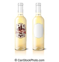 Two realistic bottles for white wine with labels isolated. Vector