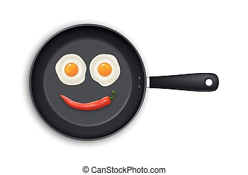 Two realistic fried eggs and red hot chili pepper laid out in the form of an emoticon in a black frying pan icon closeup isolated on white background. Design template. Stock vector mockup. EPS10.