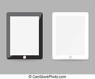 Two realistic tablet pc concept - black and white with blank screen. Highly detailed responsive realistic small tablet mockup isolated on gray background. Vector illustration EPS10