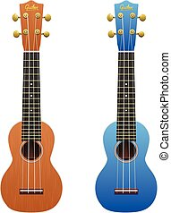 Two realistic ukuleles isolated on white - Ukulele show...