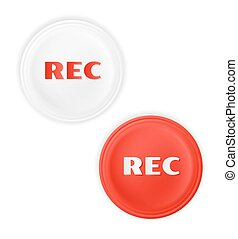 rec button - two rec buttons on white background, vector, ...