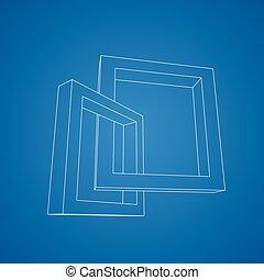 two rectangular 3d frames blueprint two schematic vector