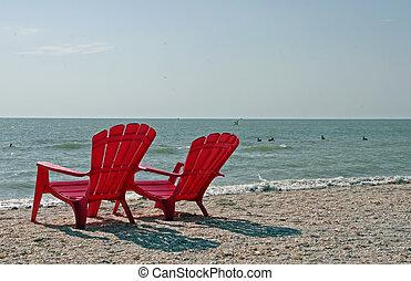 Beach Chairs - Two Red Adirondack Beach Chairs Sanibel ...