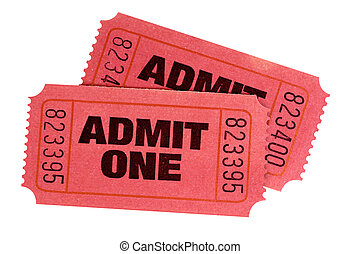 Two red admit one retro movie tickets isolated