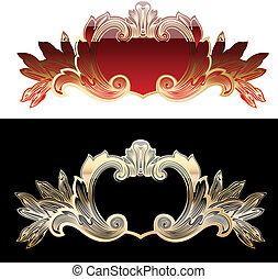 Two Red And Gold Royal Design Elements