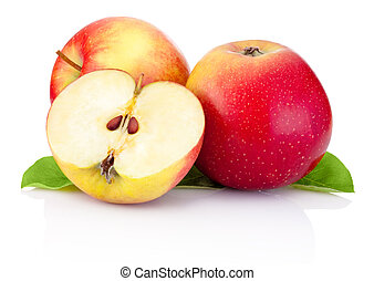 Two red apples and half with green leaves isolated on a white background