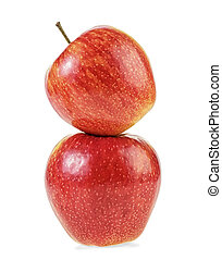 Two red apples isolated on a white background