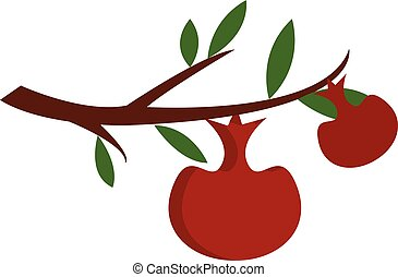 Two red apples on a brown tree branch with green leaves vector illustration on white background