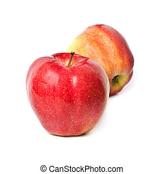 two red apples on a white background