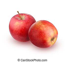 Two red apples on a white background.